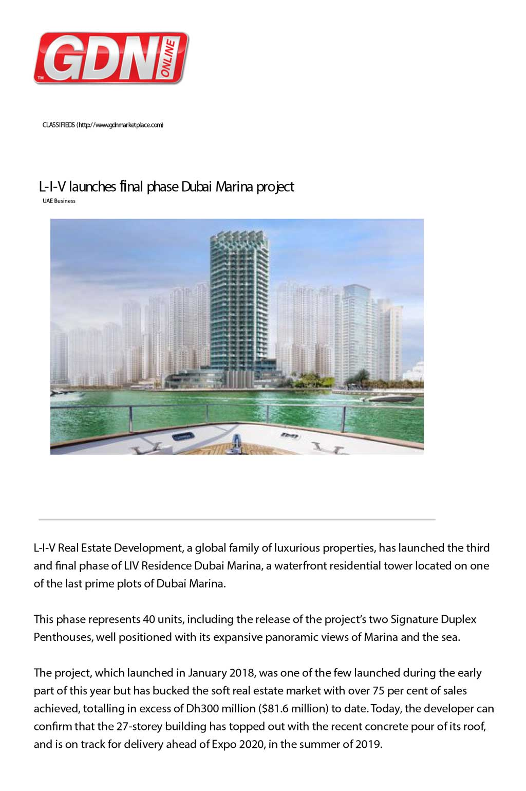 L-I-V launches final phase Dubai Marina project