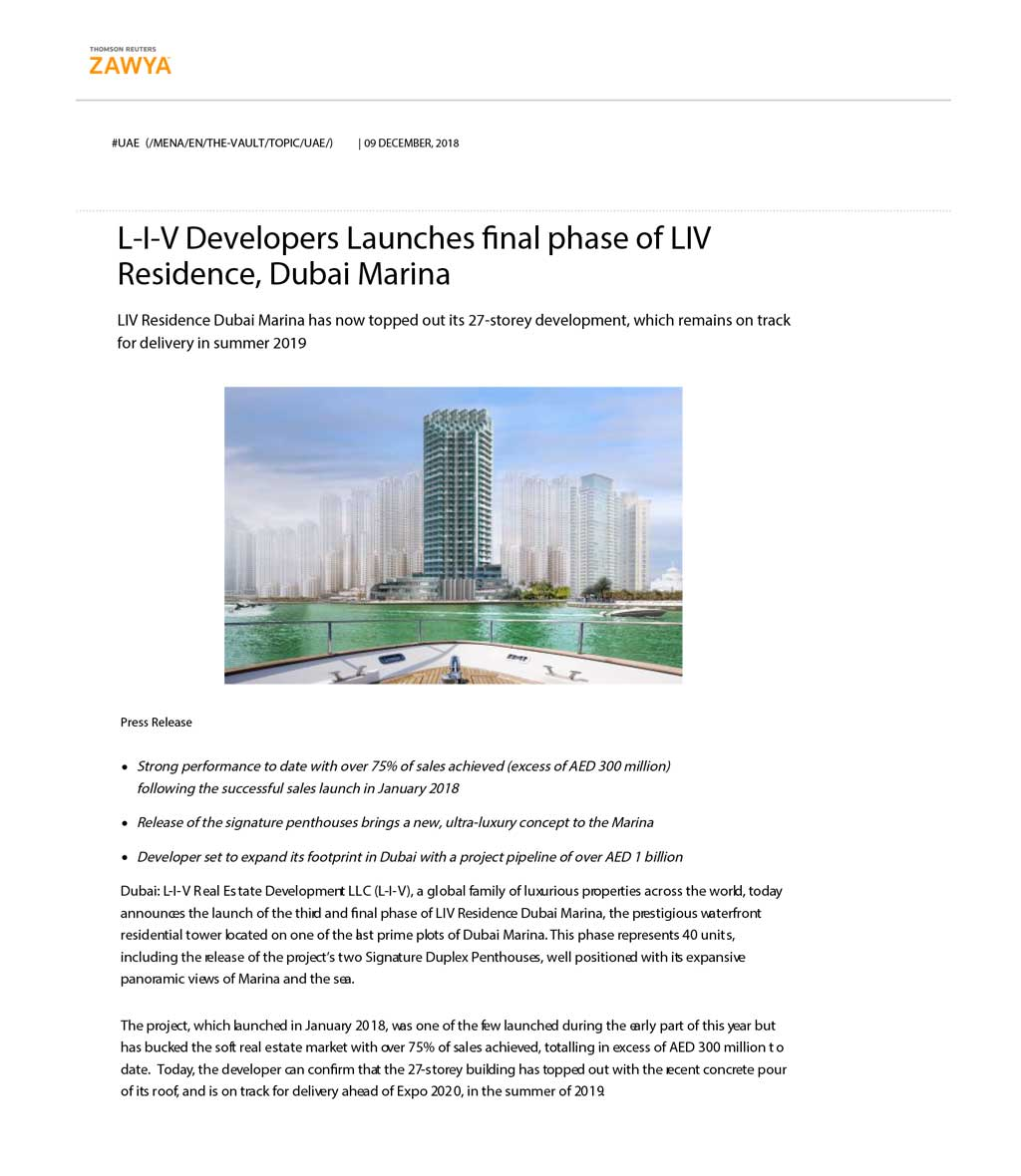 L-I-V Developers Launches final phase of LIV Residence, Dubai Marina